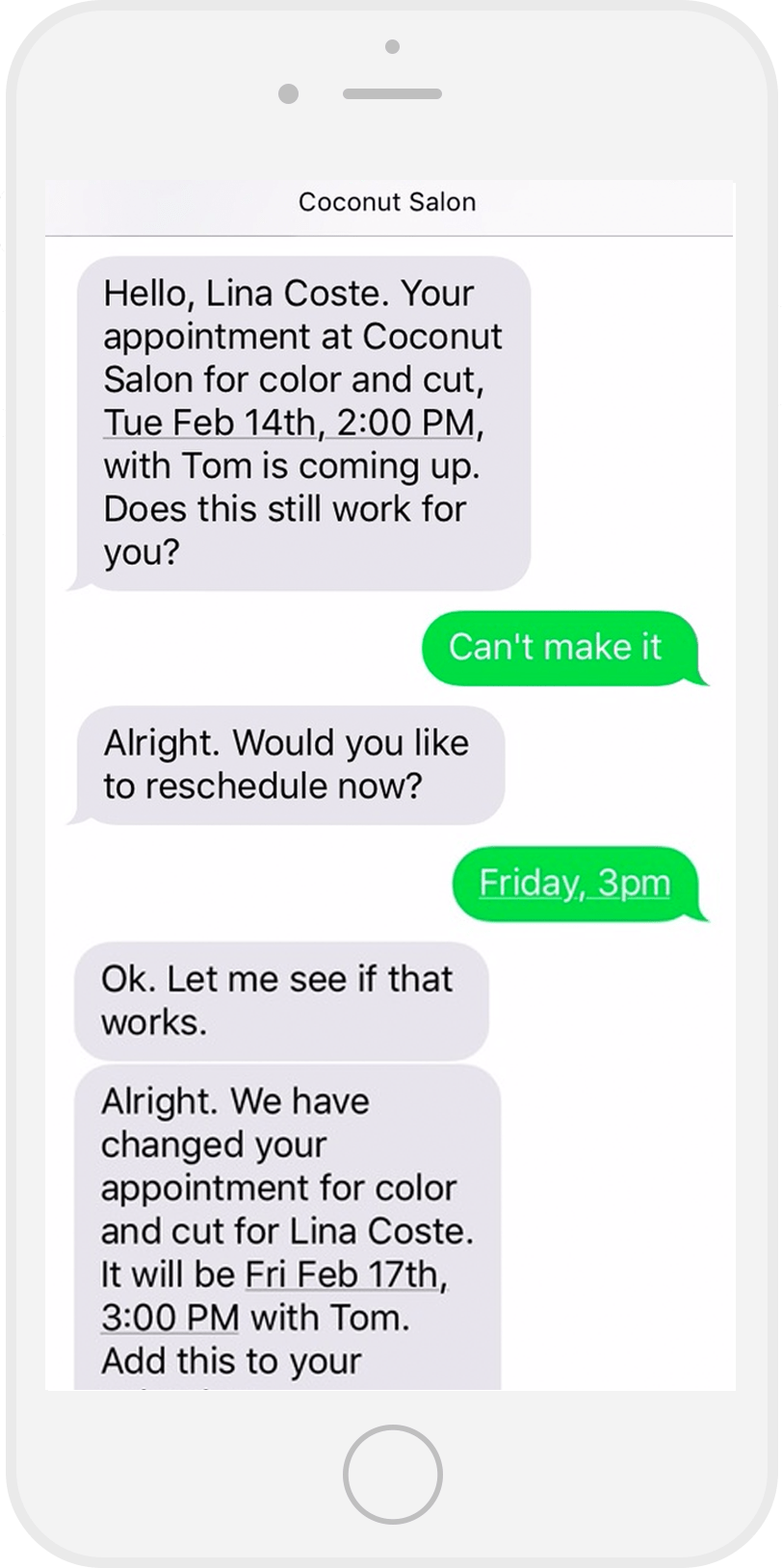 iPhone screen with a conversation handled by Presence AI